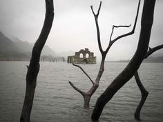 The remains of the mid-16th century church Temple of Santiago emerges in Mexican reservoir