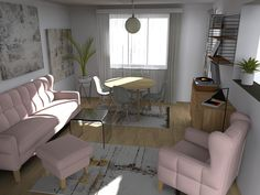 Pink Living Room Designs, Living Rooms, Dining Table, Pink, Furniture, Home Decor, Lounges, Decoration Home, Room Decor