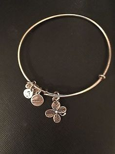 Authentic Alex & Ani Four Leaf Clover Silver Tone Charm Bangle Bracelet Preowned - http://designerjewelrygalleria.com/alex-ani/authentic-alex-ani-four-leaf-clover-silver-tone-charm-bangle-bracelet-preowned/