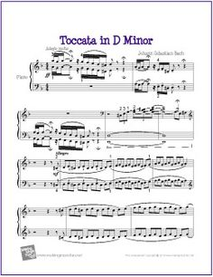 Toccata in D Minor (Bach) | Original Version Transcribed for Piano - http://makingmusicfun.net/htm/f_printit_free_printable_sheet_music/toccata-piano.htm