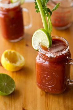 Homemade Caesar Cocktail, anyone? Drink up and get a few servings of veggies at the same time. #recipes #vegan