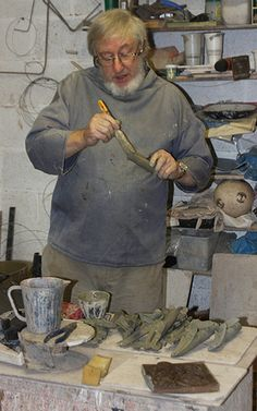 John Maltby in his Devon Studio.- John will be exhibiting in the Christmas exhibition at gallerytop from 8 November