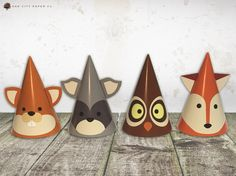 Woodland Party Hats - Woodland Animal Party Hats, Woodland Birthday Party Hats, Woodland Party Decorations, Woodland Birthday Hat, Printable by OakCityPaperCompany on Etsy https://www.etsy.com/listing/468098159/woodland-party-hats-woodland-animal
