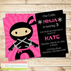 Pink Girl Ninja Party Birthday Invitation by CSExpressions on Etsy