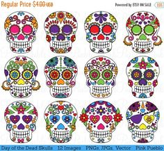 Our Day of the Dead Sugar Skulls Clipart and Vector set includes 12 PNG files with transparent backgrounds, 12 JPG files with white backgrounds and 1 Adobe Illustrator vector file. All the images are 300dpi and approximately 10 inches at their widest point. We are always BUY THREE GET ONE FREE! Buy any three items in our shop and get another item free! The lowest priced item of the four items is free; just purchase three items and list which additional digital item you would like free in the…
