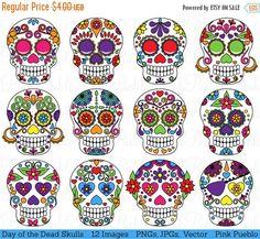 HALLOWEEN VENTA día del cráneo muerto Clipart Clip Art, azúcar calaveras Clipart Clip Art de vectores - comercial y para uso Personal