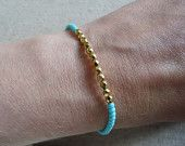 Turquoise & Gold beaded friendship bracelet £12.50