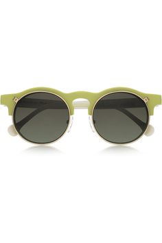 Carven - Anastasie flip-up round-frame acetate sunglasses in neon yellow acetate with pearlescent off-white arms. $360.