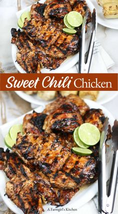 Mar 2020 - Sweet Chili Chicken is sweet and spicy with flavors of garlic, fresh ginger, soy, and sweet chili sauce. This easy chicken marinade is perfect for a lighter dish any time of the year. Meat Recipes, Asian Recipes, Dinner Recipes, Cooking Recipes, Healthy Recipes, Fresh Chicken Recipes, Easy Chicken Meals, Recipies, Grill Recipes