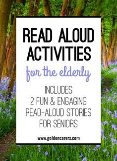 Read Aloud Activities for the Elderly For the elderly who loved to read all their lives, listening to someone read to them can bring profound comfort and joy. Why not start a Read-Aloud Readers Grou Elderly Crafts, Elderly Activities, Senior Activities, Activities For Adults, Crafts For Seniors, Work Activities, Cognitive Activities, Activity Ideas, Senior Games