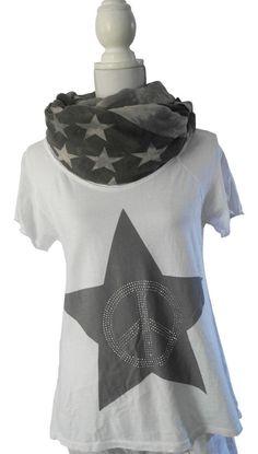 Impressionen Longshirt Sweatshirt T-Shirt kurzarm weiß Stern peace Nieten 38-42