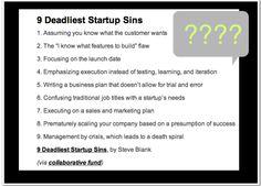 9 Deadliest Startup Sins