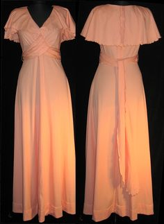 1970's peach bridesmaid dress