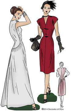 Decades of Style | #4014 1940s Belle Curve Dress | Vintage Sewing and Dress Patterns