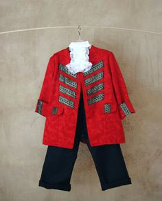 CLICK HERE TO BUY Kids Pirate Costume: Vest and Trousers in sumptuous red by PABUITA