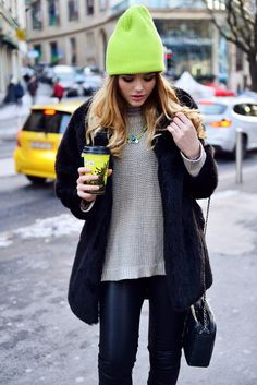 Mix textures, and add a statement neon piece! Great for the bleary weather of wintertime.