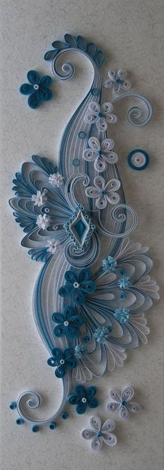 Neli Quilling Art: Quilling card white and blue Neli Quilling, Origami And Quilling, Quilled Paper Art, Quilling Paper Craft, Diy Paper, Paper Crafts, Diy Crafts, Quilling Work, Origami Paper