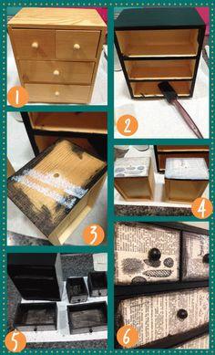 mod podge a dresser or box
