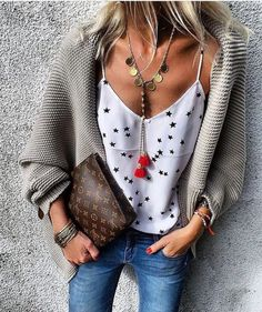 #summer #outfits Grey Cardigan + White Star Print Tank + Skinny Jeans