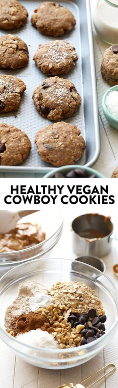 Looking to whip up a batch of cookies? Lighten things up with these crunchy on the outside, soft on the inside healthy vegan cowboy cookies! They're made with peanut butter, oats, coconut, and walnuts!