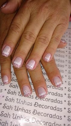 pretty manicure minus the stone & flower though. Bridal Nails, Wedding Nails, Neutral Nails, Toe Nail Designs, Stylish Nails, French Nails, Simple Nails, Manicure And Pedicure, Toe Nails