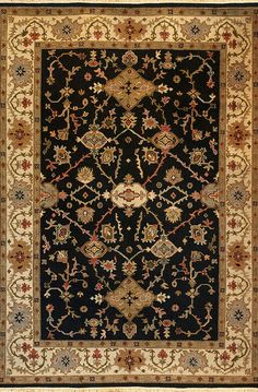 Mahal (black/beige - Kazak design 9) by A Rug For All Reasons | This Persian design rug was created with a very sturdy soumak weave.