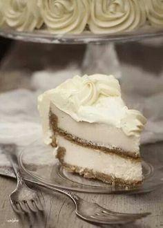 Two layer cheescake by I Am Baker....... http://iambaker.net/double-decker-cheesecake/