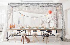Dining room in white #table #stools #party Styling: Frans Uyterlinde | Fotografie: Jansje Klazinga