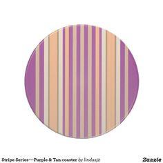 Stripe Series---Purple & Tan coaster