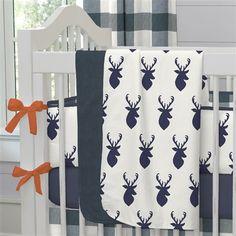Windsor Navy Deer Head Fabric by Carousel Designs.