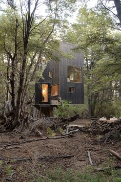 Image 13 of 16 from gallery of Shangri-la Cabin / DRAA + Magdalena Besomi. Photograph by Magdalena Besomi Forest Cabin, Forest House, Tiny House Cabin, Log Cabin Homes, Cabin Design, Tiny House Design, Shangri La, Architecture Design, Chile