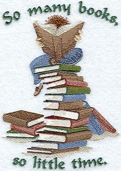"""So Many BooksProduct ID: C2982  Size:4.81""""(w) x 6.86""""(h) (122.2 x 174.2  mm)Color Changes:13  Stitches:37632Colors Used:12"""