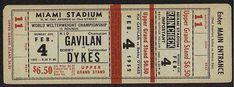 Kid Gavilan vs. Bobby Dykes, vintage boxing ticket