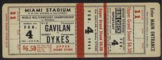 1952 World Welterweight Championship admission ticket.