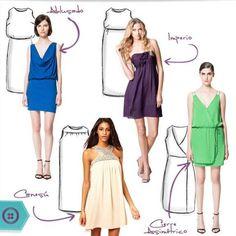 Conoce los cortes y formas de vestidos más usadas en confección y cual te sienta mejor según tu cuerpo y constitución.