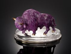 Ruby Carving of A Bull By Eberhard Bank Idar-Oberstein, Germany - sold $9,375