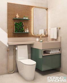 Banho Social: Banheiros  por Fiorino + Sandhas Arquitetos Toilet And Bathroom Design, Small Bathroom Interior, Washroom Design, Toilet Design, Bathroom Design Luxury, Bathroom Layout, Modern Bathroom, Living Room Decor Inspiration, Bathroom Inspiration