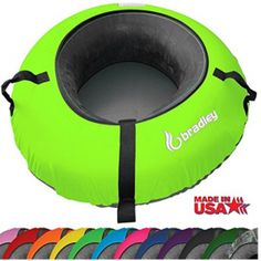 Bradley Snow Tube Sled with 48 Neon Green Cover * See this great product. (This is an affiliate link) Snow Sled, Black Cover, Neon Yellow, Skiing, Tube, How To Make, Easy Light, Outdoors, Image Link