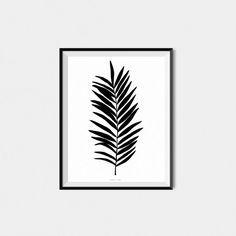 Palm Leaf Printable Poster  Black and White Plant Art  by BAECKANN