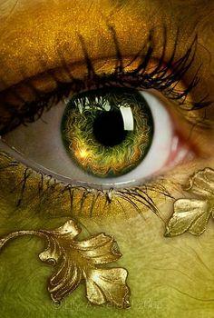 Cool eye make up for green/blue eyes! Eye makeup The World in her eyes Pretty Eyes, Cool Eyes, Beautiful Eyes, Amazing Eyes, Gif Kunst, Photos Of Eyes, Crazy Eyes, Golden Eyes, Golden Life