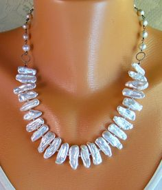 "20"" Biwa Stick Pearl Cultured Akoya Sterling Silver Gemstone Necklace- Handmade Wire Wrapped Jewelry- Gift- JUNE Birthstone =)"