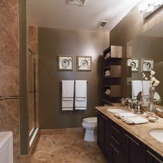 Get inspired with these gray bathroom decorating ideas. Restroom ideas, Gray bathroom walls, Half bathroom decor,Grey bathrooms inspiration, Classic grey bathrooms and Images of bathrooms.