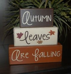 Autumn Leaves Are Falling  Primitive Wood Sign Blocks Distressed Word Stacking Blocks Home