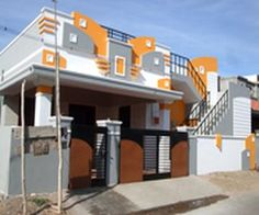elevations of independent houses House Front Wall Design, House Outer Design, House Main Gates Design, Single Floor House Design, Modern Small House Design, House Outside Design, Village House Design, Bungalow House Design, House Design Photos