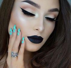 Black lipstick makeup looks Gorgeous Makeup, Love Makeup, Makeup Inspo, Makeup Inspiration, Beauty Makeup, Makeup Looks, Makeup Box, Flawless Makeup, Dark Makeup