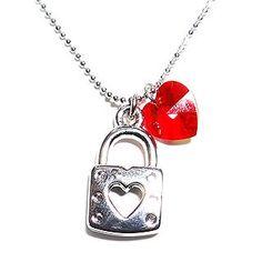 "6thJune  ""Lock-My-Heart"" July Birthstone Necklace - Ruby (Swarovski Crystal)"