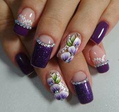 Glitter Nail Art, Nail Art Diy, Diy Nails, Cute Nails, New Nail Art Design, Nail Art Designs, Purple Nails, Bling Nails, Winter Nails