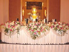 #Wedding reception #bridal #table #flowers top table overflowing large pink