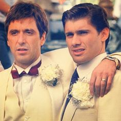 "Al Pacino as ""Tony Montana"" and Steven Bauer as ""Manny Ribera"", ""Scarface"" (1983) by Brian De Palma and Oliver Stone (screenplay)"