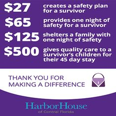 Purple Purse Challenge Fundraiser for Harbor House of Central Florida! Find out more about the importance of economic empowerment and how it helps suvivors of domestic abuse.
